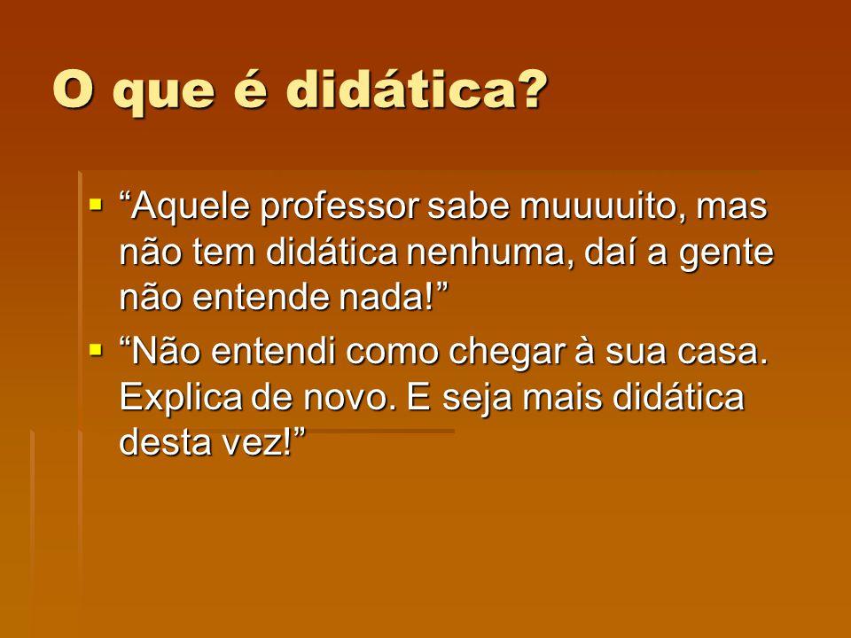 O que é didática Aquele professor sabe muuuuito, mas não tem didática nenhuma, daí a gente não entende nada!