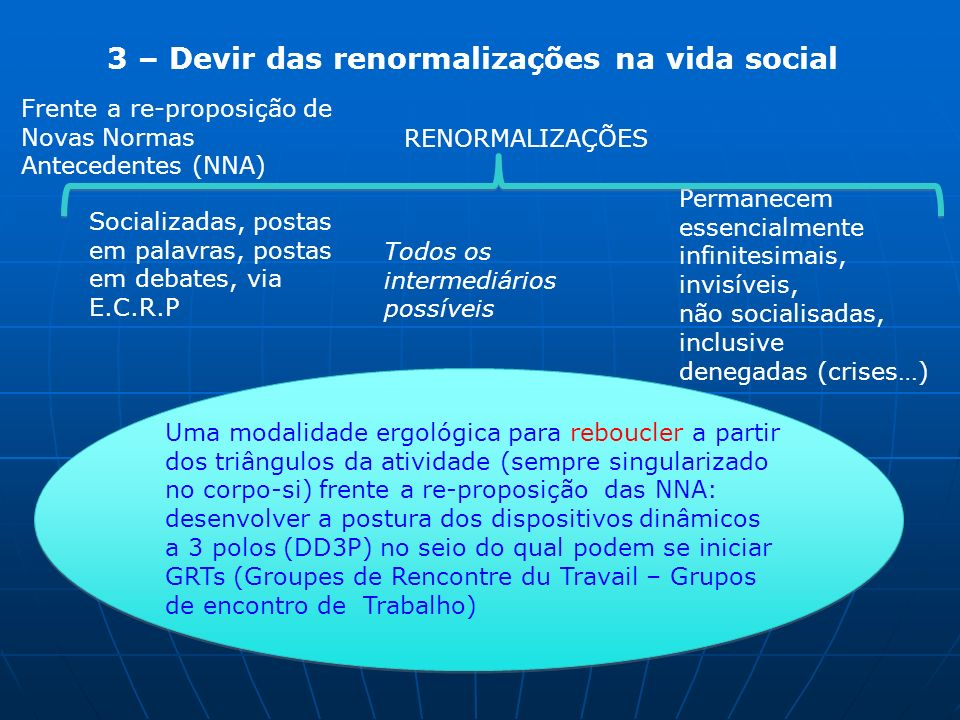 3 – Devir das renormalizações na vida social