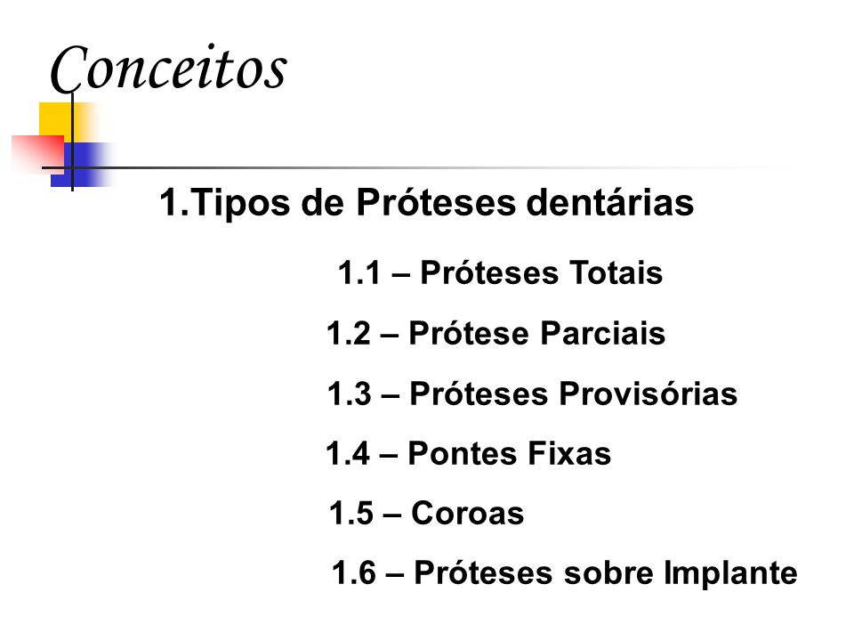 Conceitos 1.Tipos de Próteses dentárias 1.1 – Próteses Totais