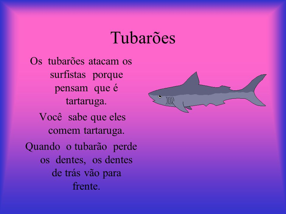 Tubarões Os tubarões atacam os surfistas porque pensam que é tartaruga. Você sabe que eles comem tartaruga.