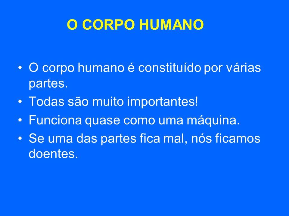 O CORPO HUMANO O corpo humano é constituído por várias partes.