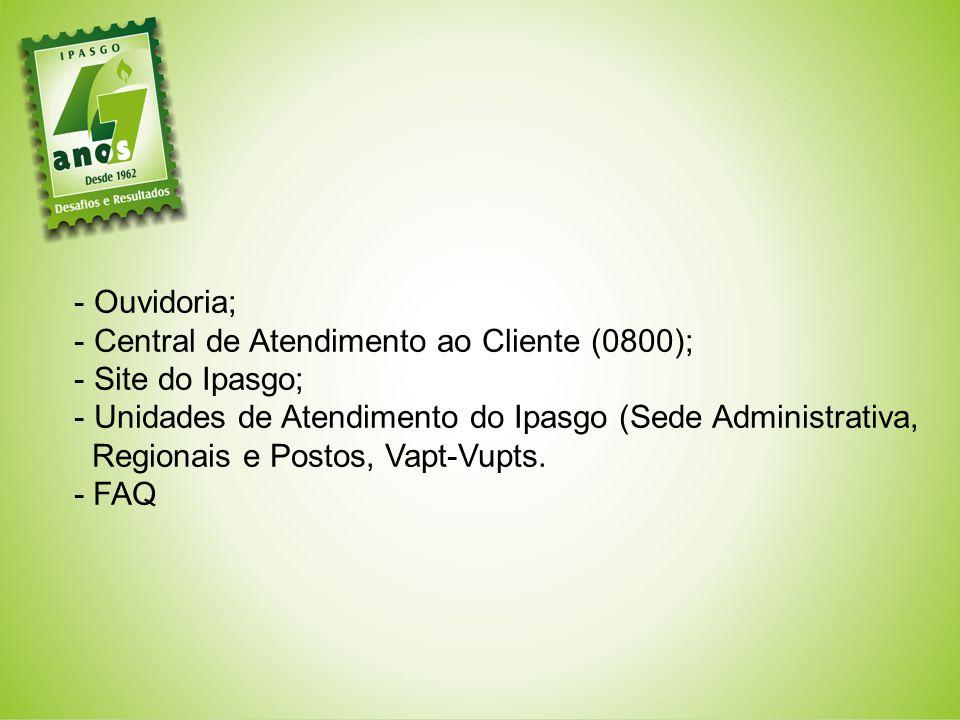 Ouvidoria; Central de Atendimento ao Cliente (0800); Site do Ipasgo; Unidades de Atendimento do Ipasgo (Sede Administrativa,