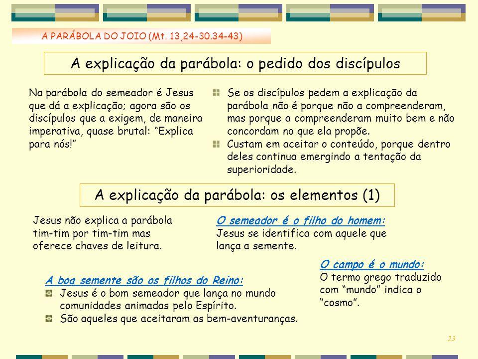A explicação da parábola: o pedido dos discípulos
