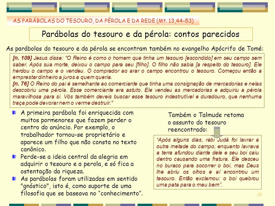 Parábolas do tesouro e da pérola: contos parecidos