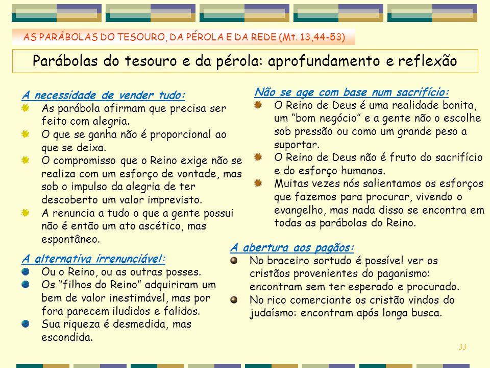 Parábolas do tesouro e da pérola: aprofundamento e reflexão