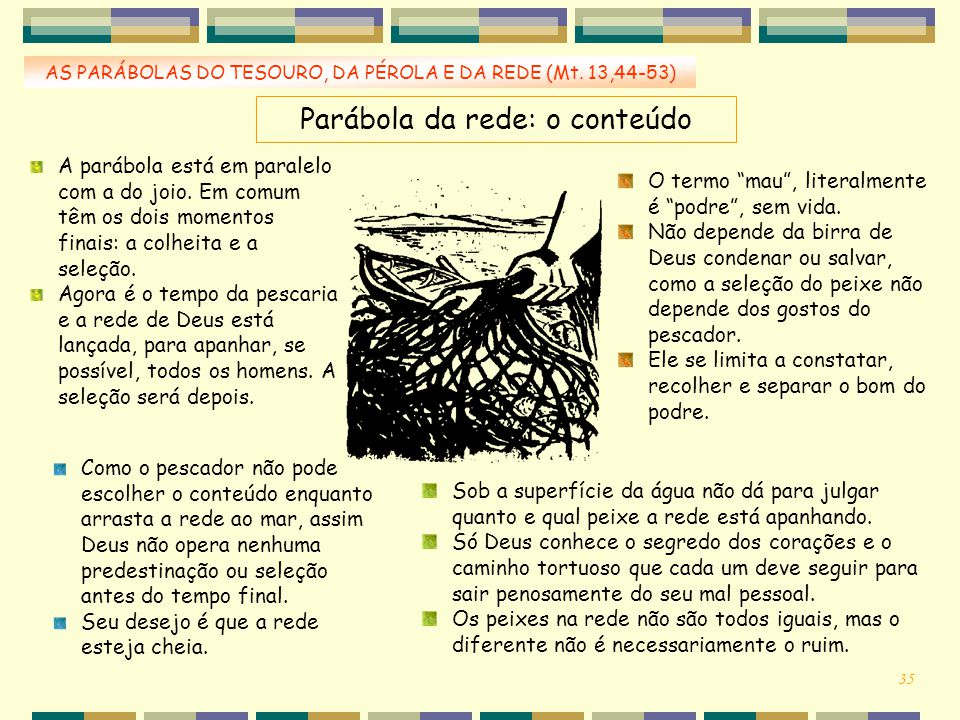 Parábola da rede: o conteúdo