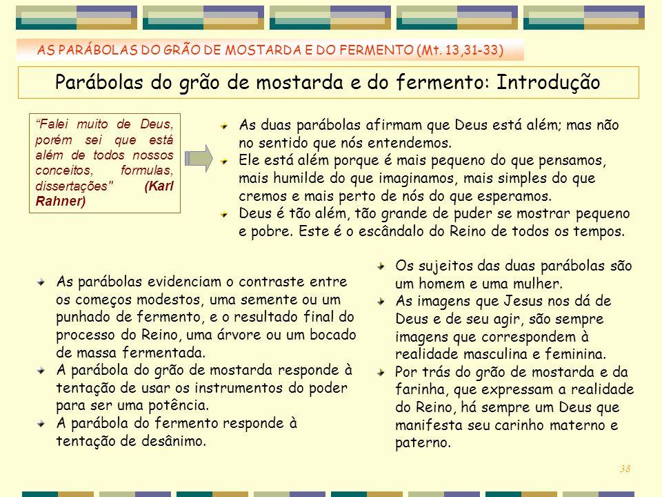 Parábolas do grão de mostarda e do fermento: Introdução