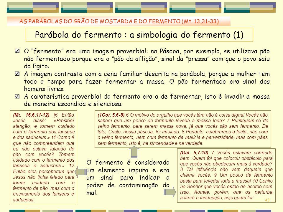 Parábola do fermento : a simbologia do fermento (1)
