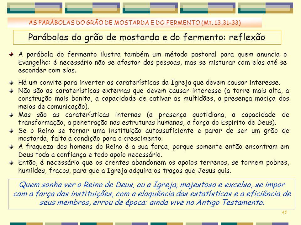 Parábolas do grão de mostarda e do fermento: reflexão