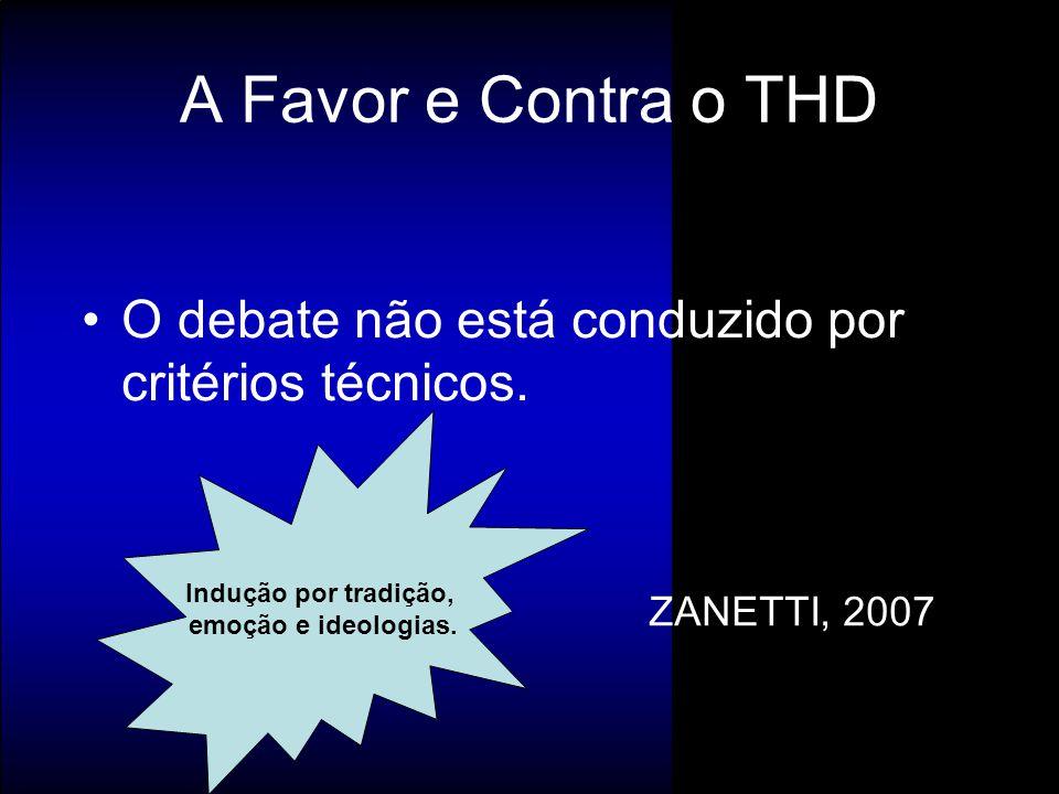 A Favor e Contra o THD O debate não está conduzido por critérios técnicos. Indução por tradição, emoção e ideologias.