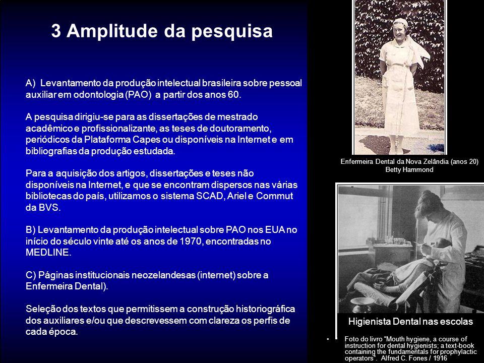3 Amplitude da pesquisa A) Levantamento da produção intelectual brasileira sobre pessoal auxiliar em odontologia (PAO) a partir dos anos 60.