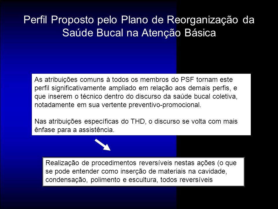 Perfil Proposto pelo Plano de Reorganização da Saúde Bucal na Atenção Básica