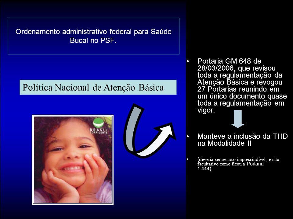 Ordenamento administrativo federal para Saúde Bucal no PSF.
