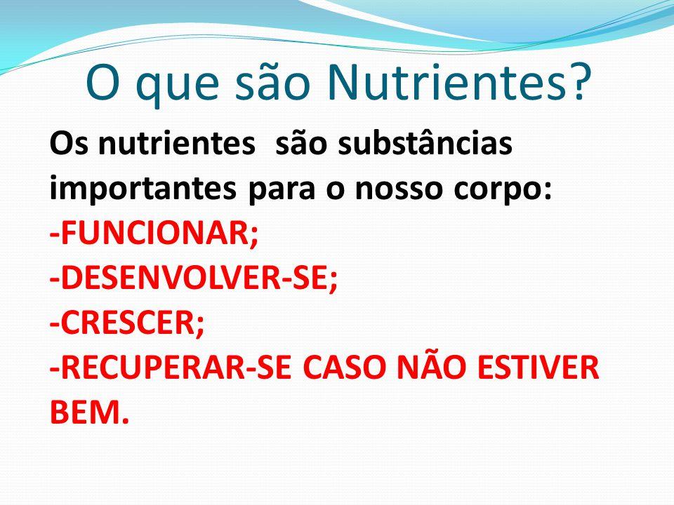 O que são Nutrientes Os nutrientes são substâncias importantes para o nosso corpo: -FUNCIONAR; -DESENVOLVER-SE;