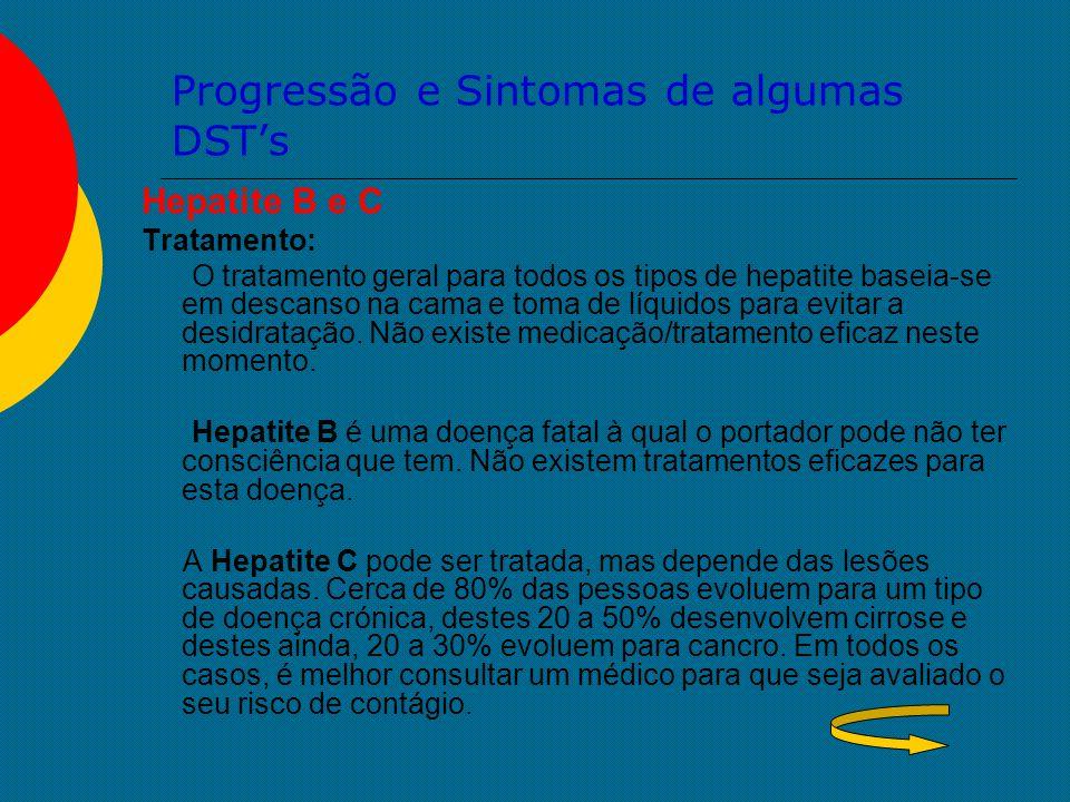 Progressão e Sintomas de algumas DST's