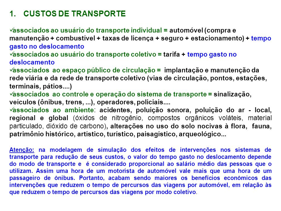 CUSTOS DE TRANSPORTE