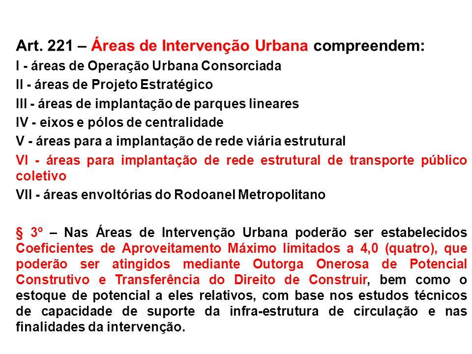 Art. 221 – Áreas de Intervenção Urbana compreendem:
