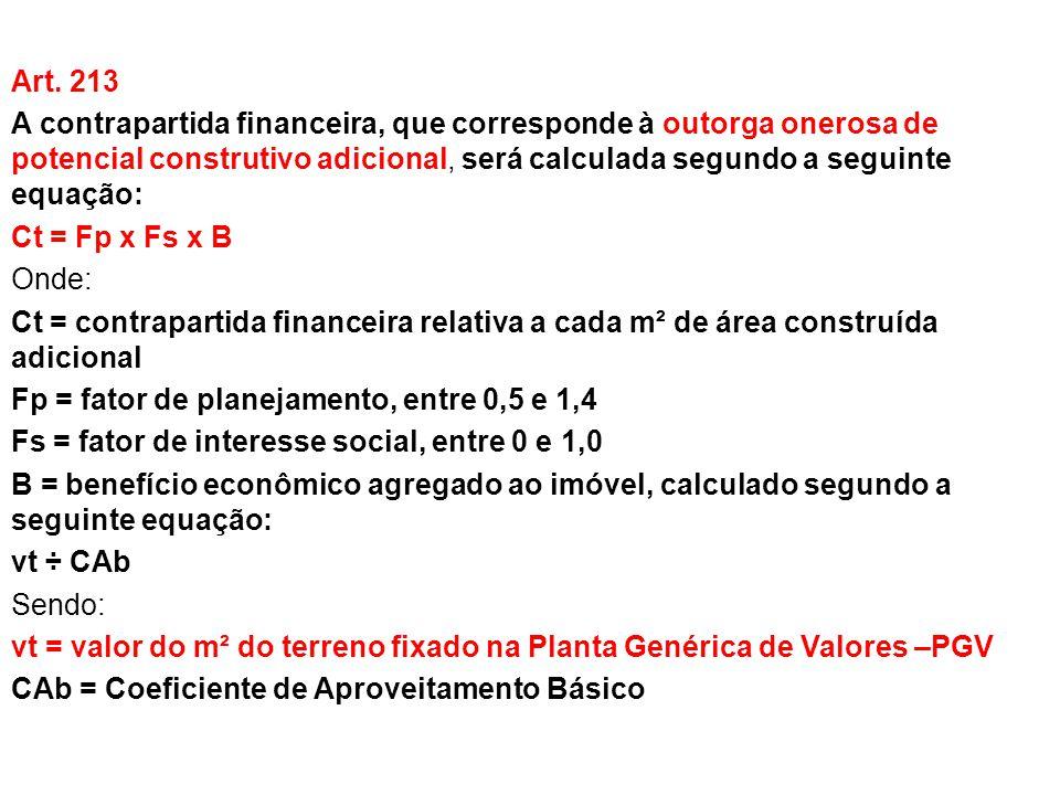 Art. 213 A contrapartida financeira, que corresponde à outorga onerosa de potencial construtivo adicional, será calculada segundo a seguinte equação: