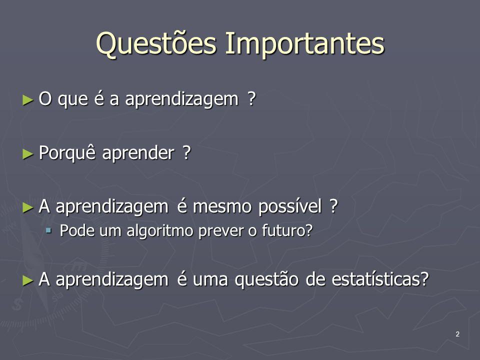 Questões Importantes O que é a aprendizagem Porquê aprender