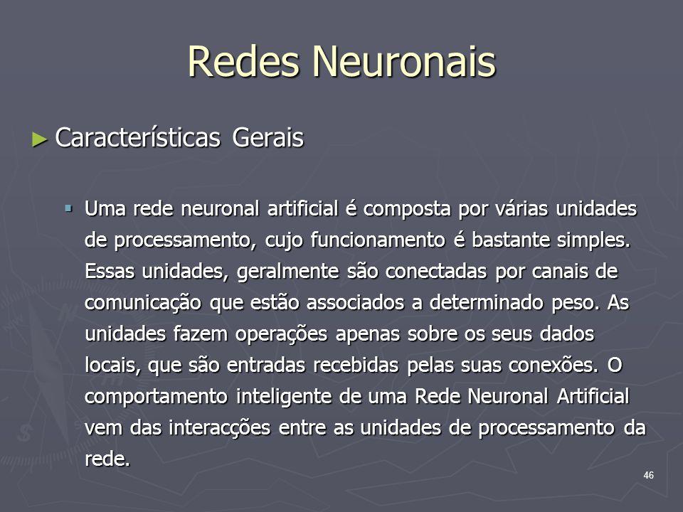 Redes Neuronais Características Gerais