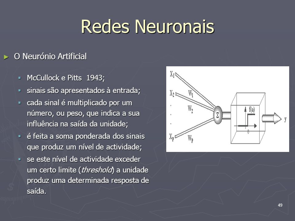 Redes Neuronais O Neurónio Artificial McCullock e Pitts 1943;