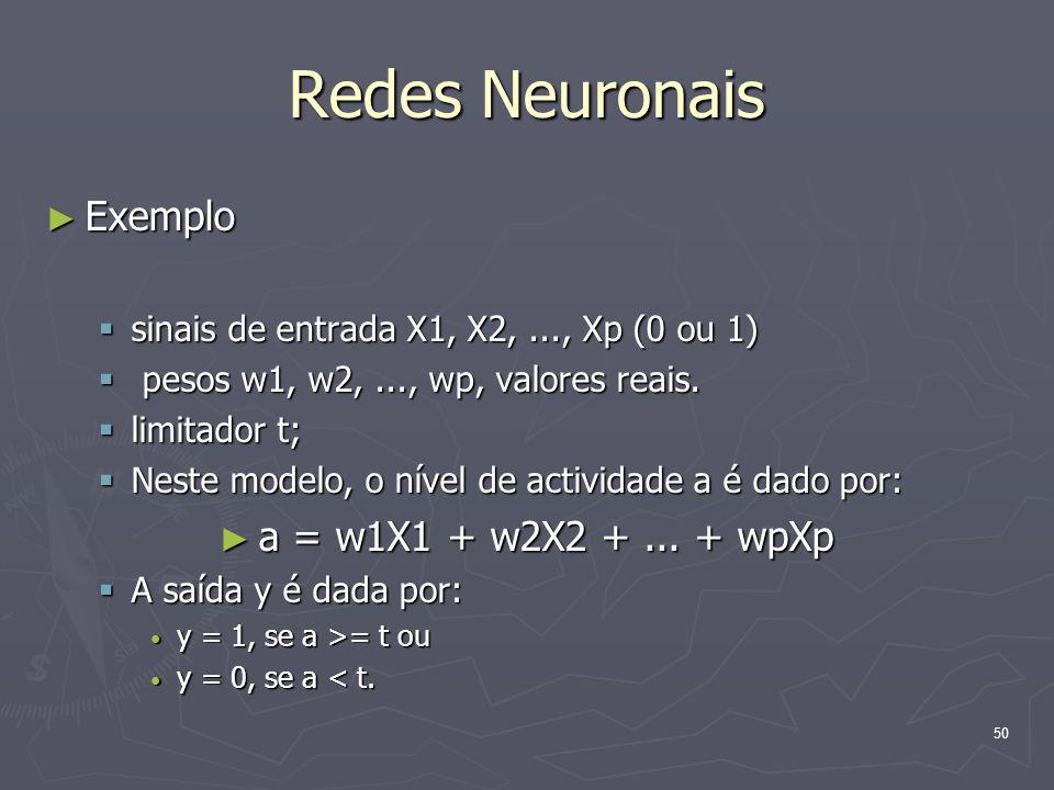 Redes Neuronais Exemplo a = w1X1 + w2X2 + ... + wpXp