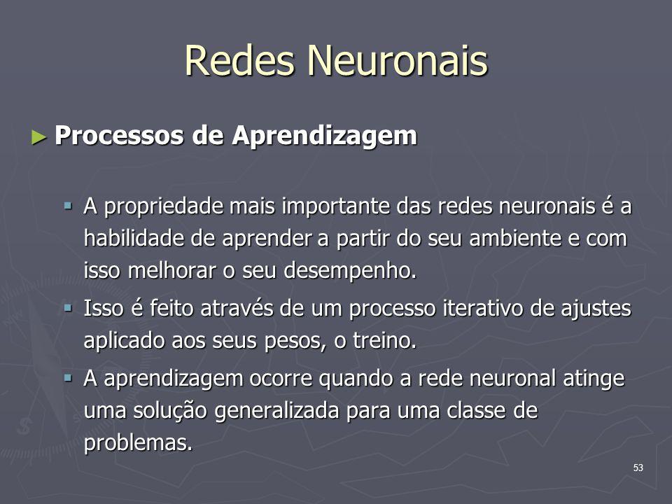 Redes Neuronais Processos de Aprendizagem