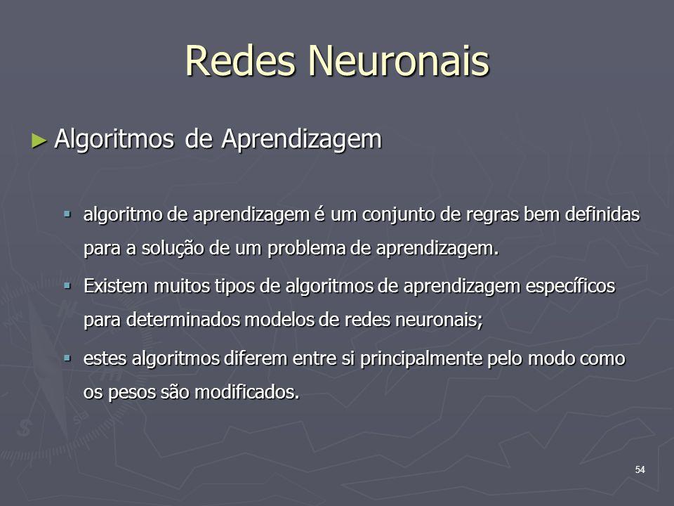 Redes Neuronais Algoritmos de Aprendizagem