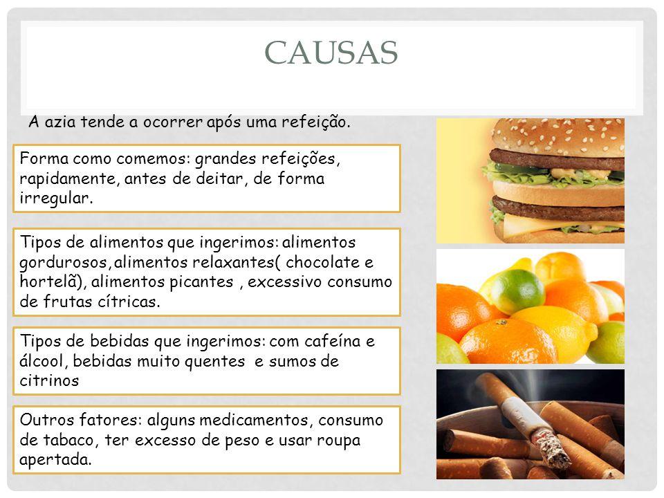Causas A azia tende a ocorrer após uma refeição.