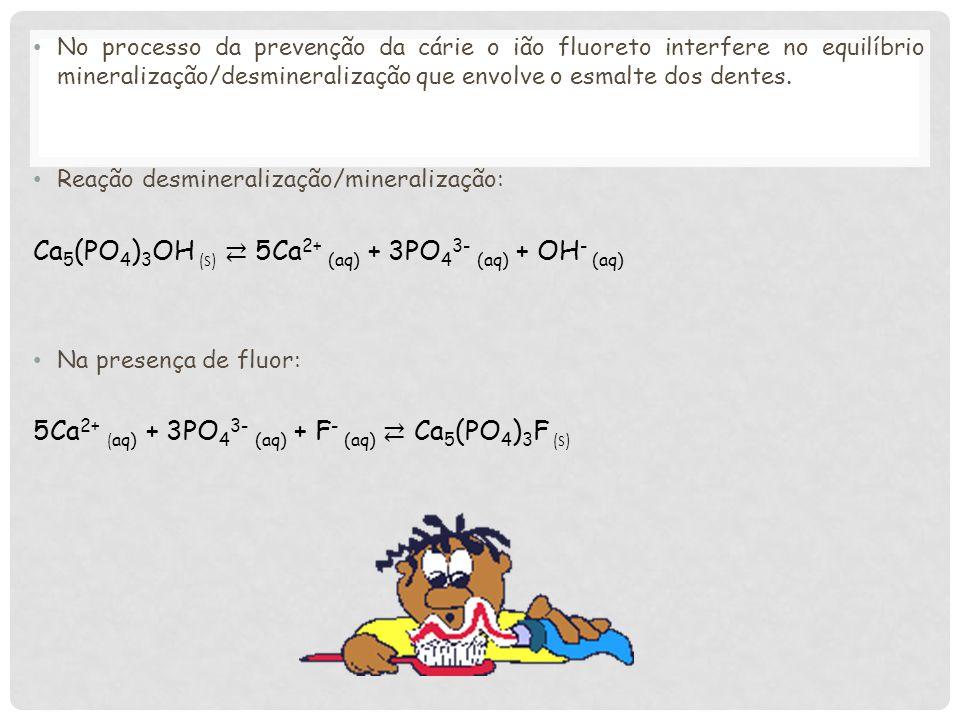 Ca5(PO4)3OH (s) ⇄ 5Ca2+ (aq) + 3PO43- (aq) + OH- (aq)