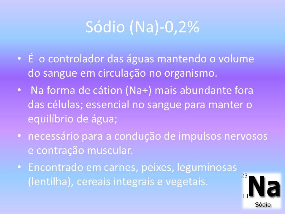 Sódio (Na)-0,2% É o controlador das águas mantendo o volume do sangue em circulação no organismo.