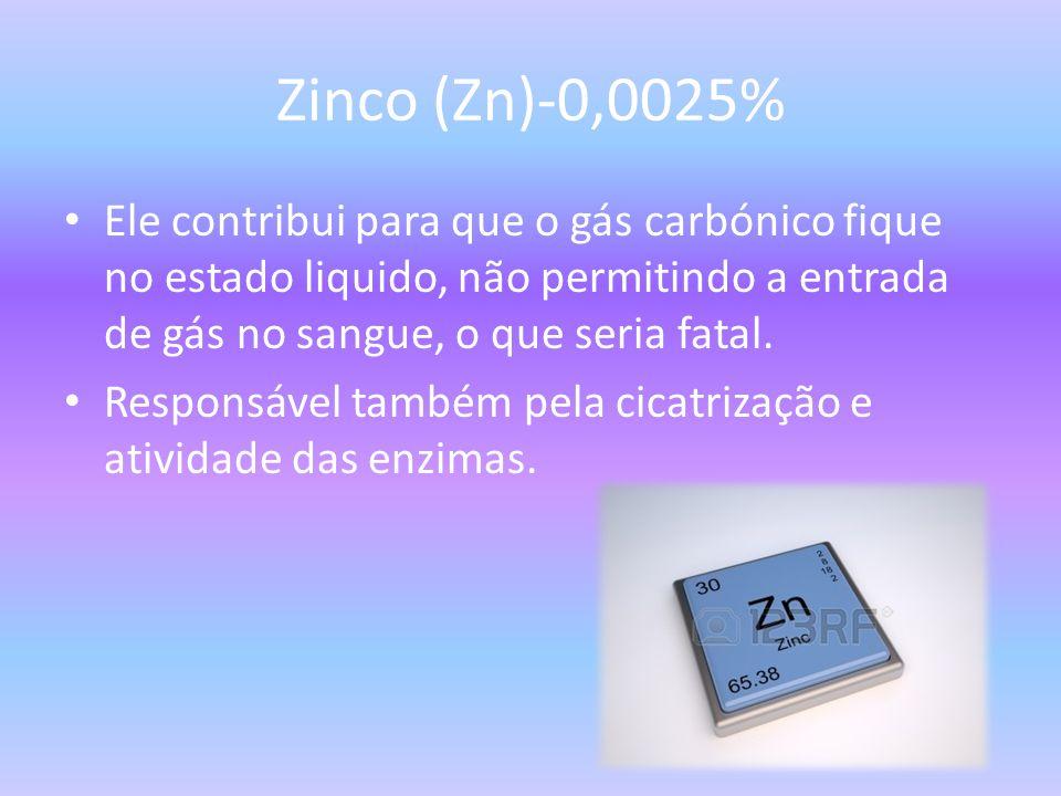 Zinco (Zn)-0,0025% Ele contribui para que o gás carbónico fique no estado liquido, não permitindo a entrada de gás no sangue, o que seria fatal.