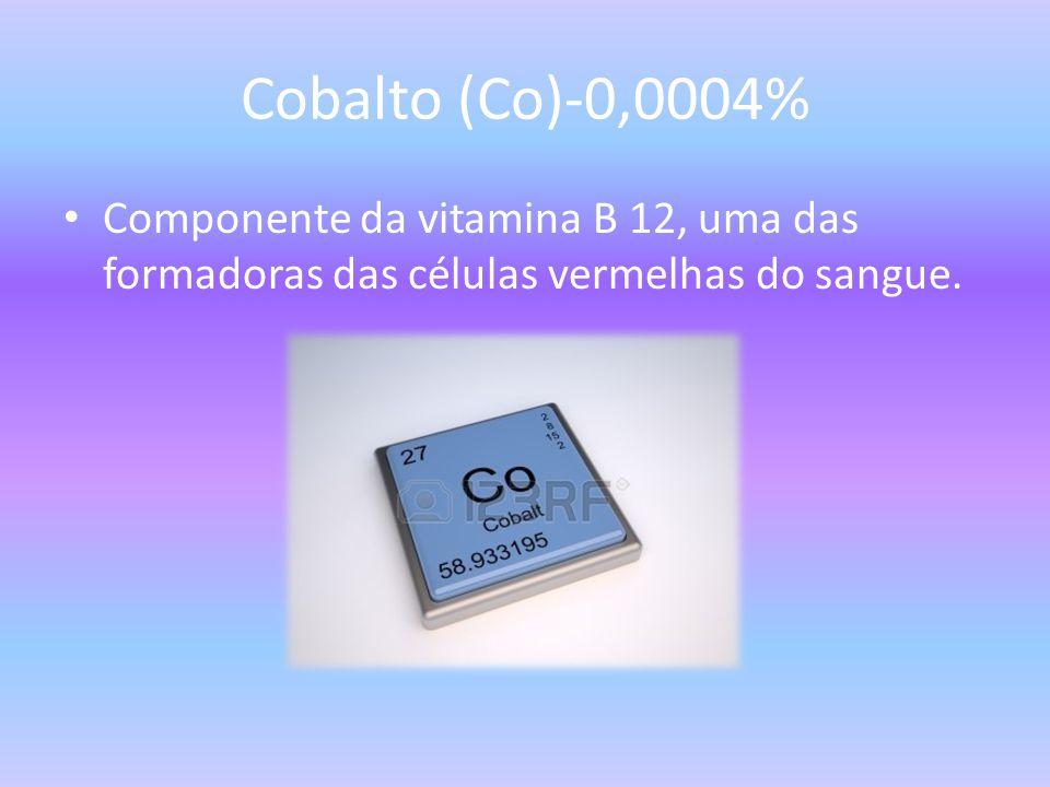Cobalto (Co)-0,0004% Componente da vitamina B 12, uma das formadoras das células vermelhas do sangue.