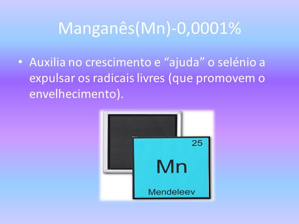 Manganês(Mn)-0,0001% Auxilia no crescimento e ajuda o selénio a expulsar os radicais livres (que promovem o envelhecimento).