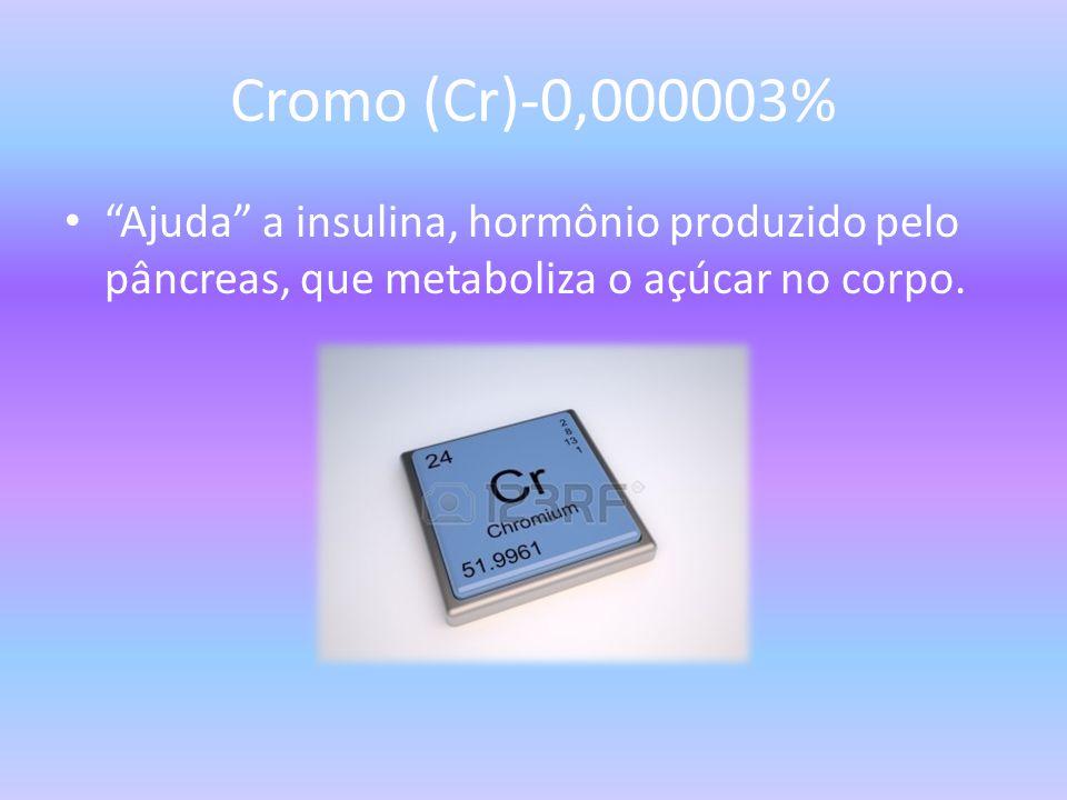 Cromo (Cr)-0,000003% Ajuda a insulina, hormônio produzido pelo pâncreas, que metaboliza o açúcar no corpo.
