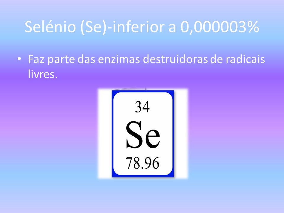 Selénio (Se)-inferior a 0,000003%