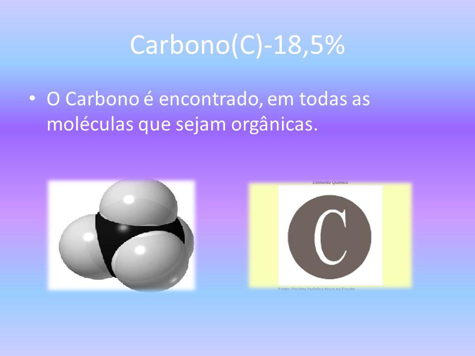 Carbono(C)-18,5% O Carbono é encontrado, em todas as moléculas que sejam orgânicas.