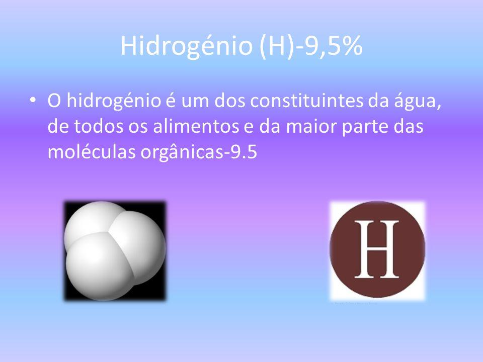 Hidrogénio (H)-9,5% O hidrogénio é um dos constituintes da água, de todos os alimentos e da maior parte das moléculas orgânicas-9.5.