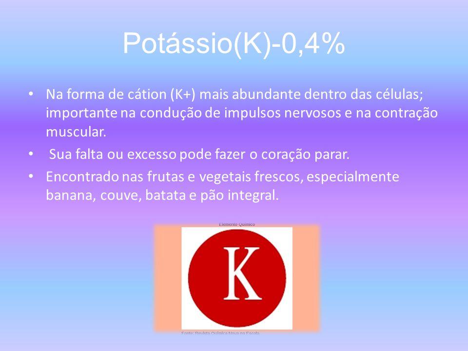Potássio(K)-0,4% Na forma de cátion (K+) mais abundante dentro das células; importante na condução de impulsos nervosos e na contração muscular.