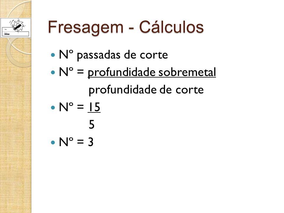 Fresagem - Cálculos Nº passadas de corte Nº = profundidade sobremetal
