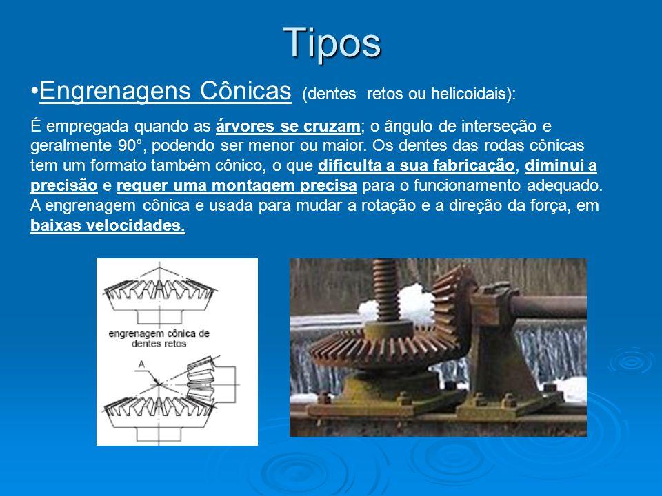 Tipos Engrenagens Cônicas (dentes retos ou helicoidais):