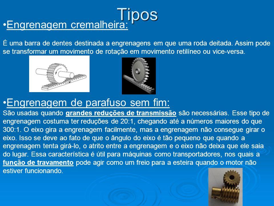 Tipos Engrenagem cremalheira: Engrenagem de parafuso sem fim: