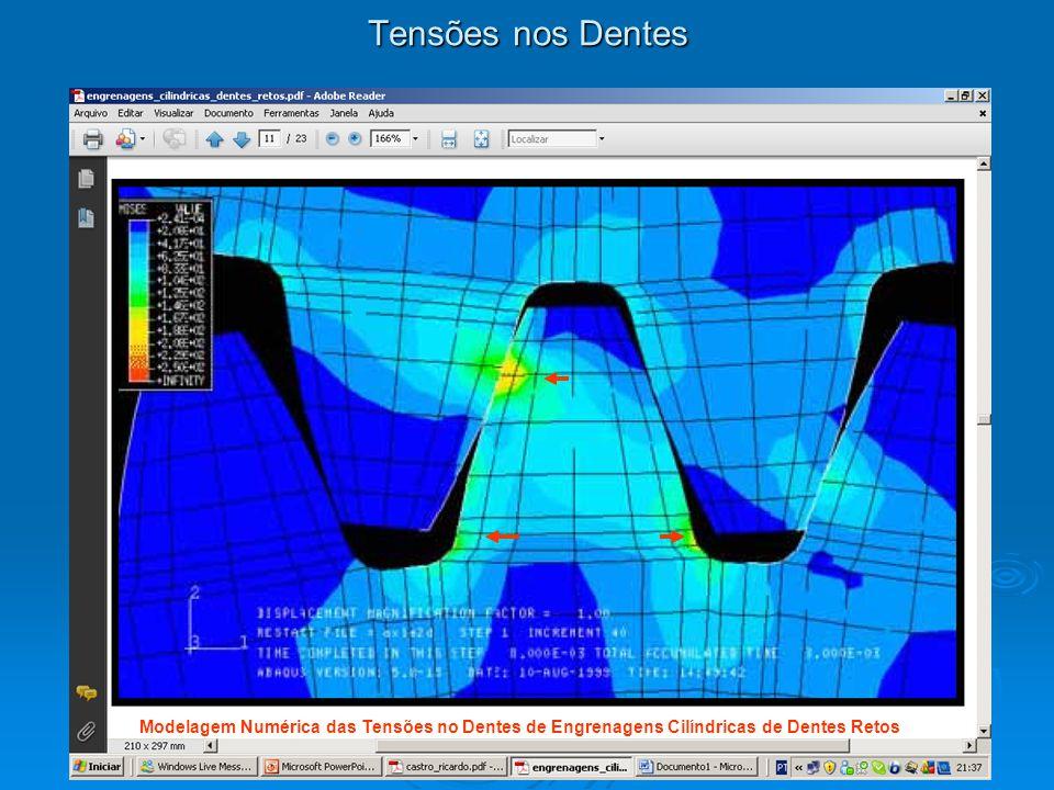 Tensões nos Dentes Modelagem Numérica das Tensões no Dentes de Engrenagens Cilíndricas de Dentes Retos.