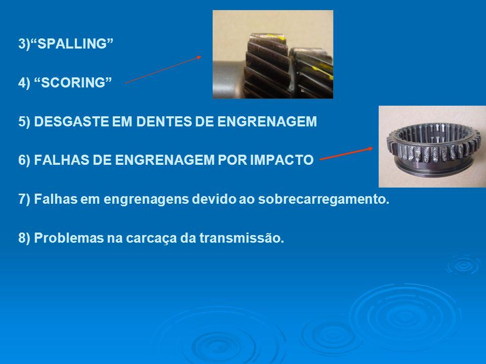 3) SPALLING 4) SCORING 5) DESGASTE EM DENTES DE ENGRENAGEM. 6) FALHAS DE ENGRENAGEM POR IMPACTO.