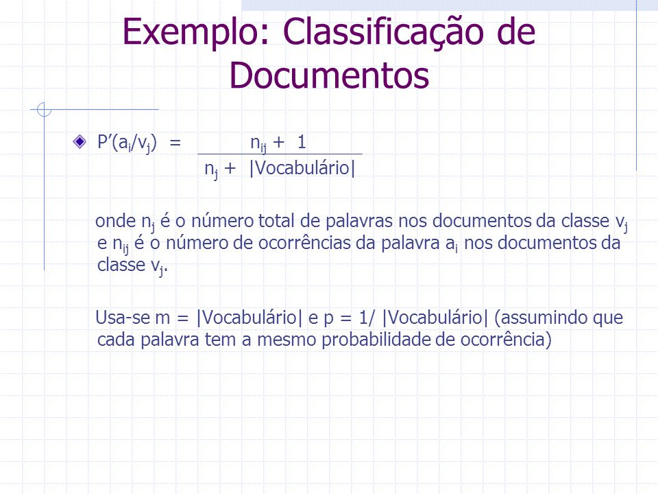 Exemplo: Classificação de Documentos