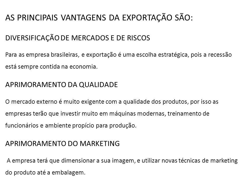 AS PRINCIPAIS VANTAGENS DA EXPORTAÇÃO SÃO: