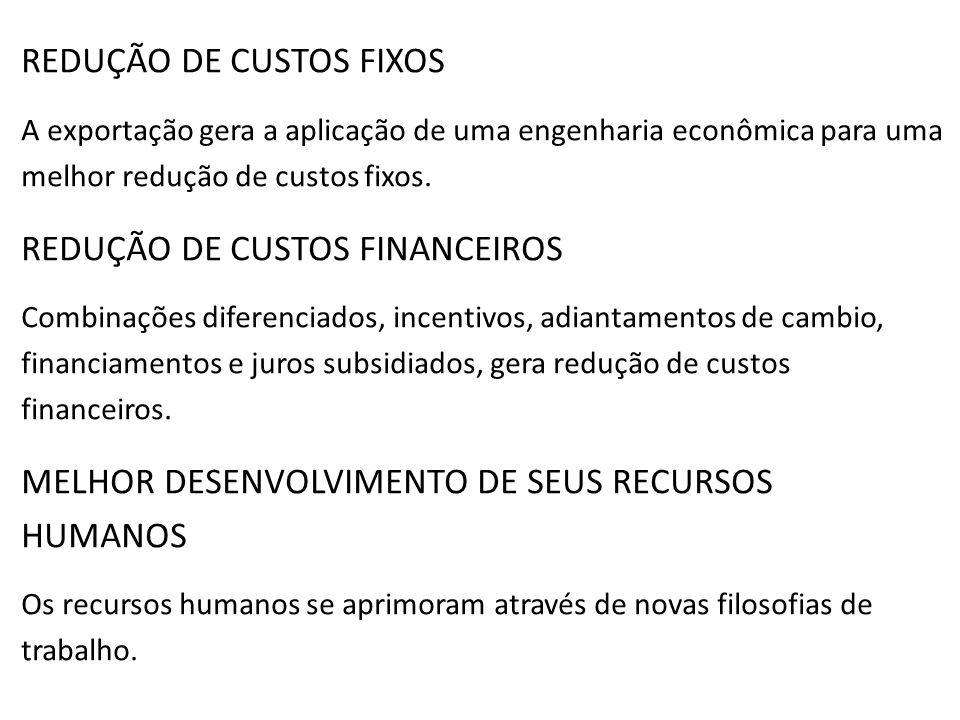 REDUÇÃO DE CUSTOS FIXOS