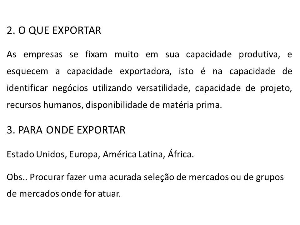 2. O QUE EXPORTAR 3. PARA ONDE EXPORTAR