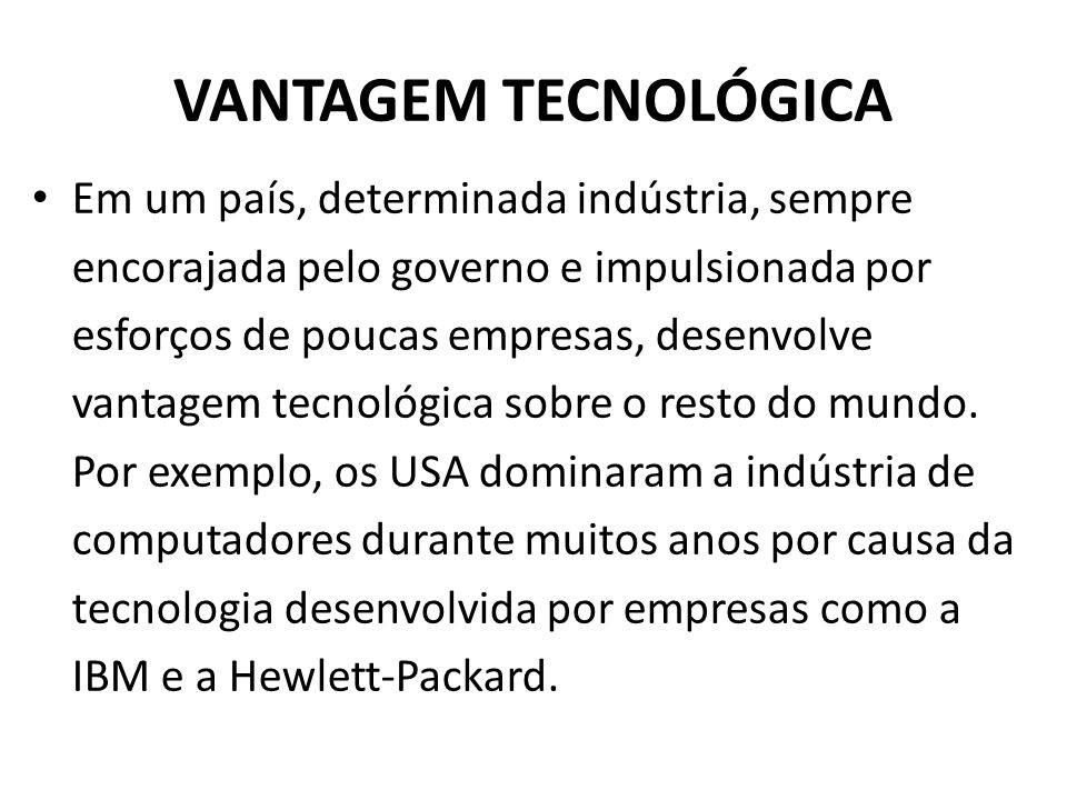 VANTAGEM TECNOLÓGICA