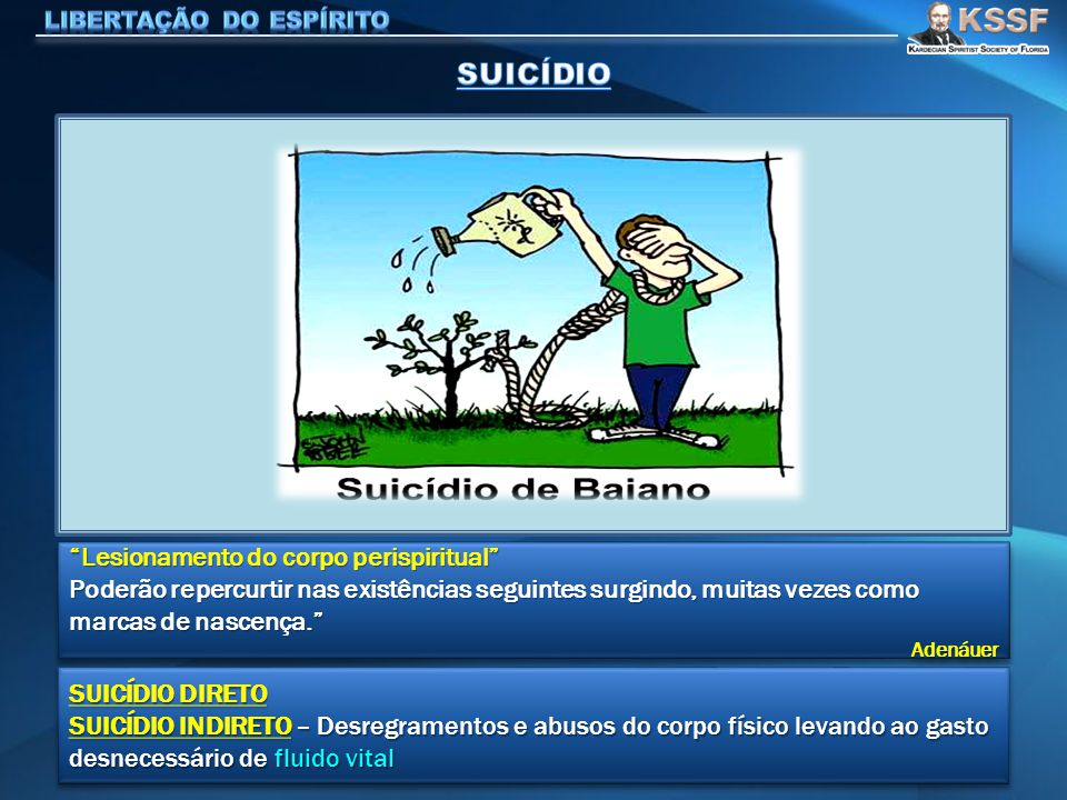 SUICÍDIO Lesionamento do corpo perispiritual